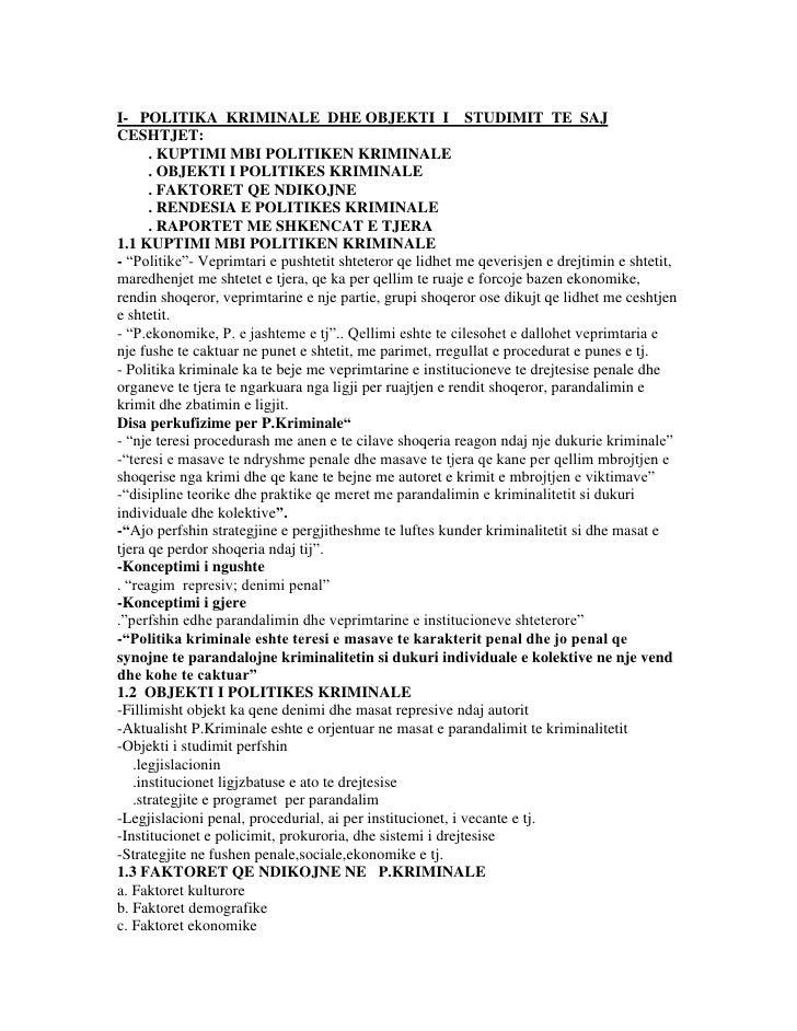 I-   POLITIKA  KRIMINALE  DHE OBJEKTI  I    STUDIMIT  TE  SAJ<br />CESHTJET:<br />        . KUPTIMI MBI POLITIKEN KRIMINAL...