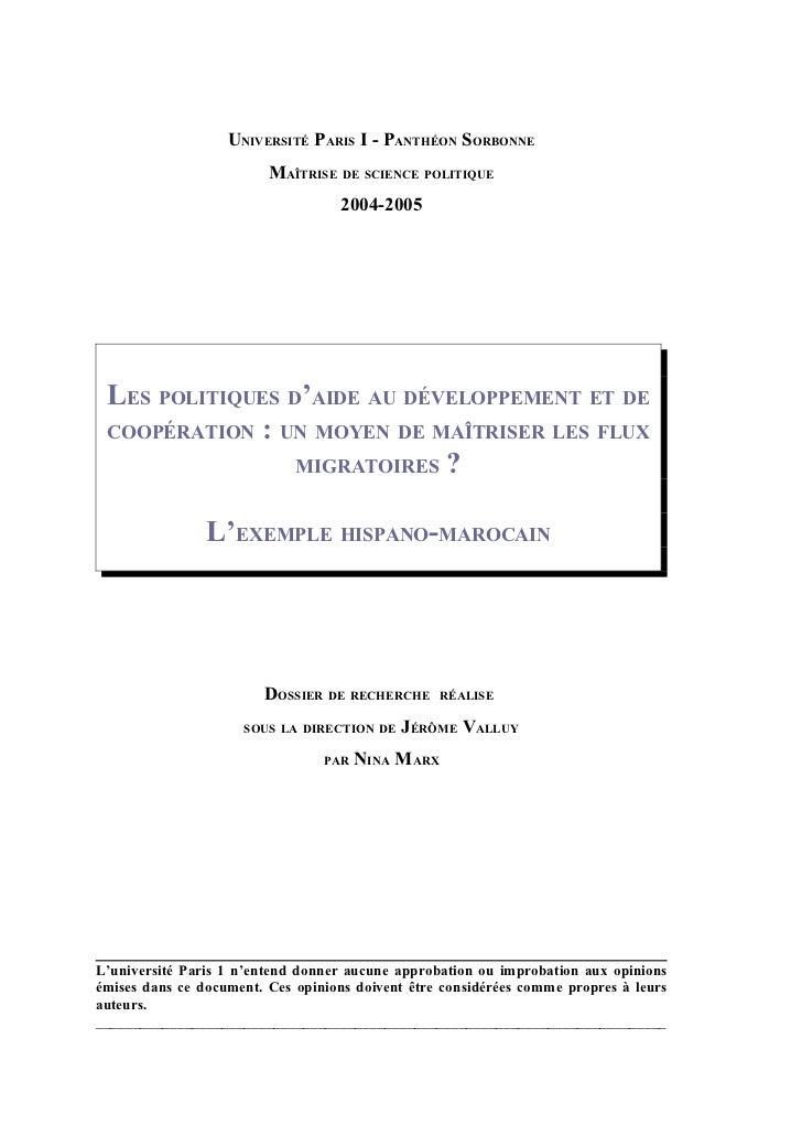 UNIVERSITÉ PARIS I - PANTHÉON SORBONNE                         MAÎTRISE DE SCIENCE POLITIQUE                              ...