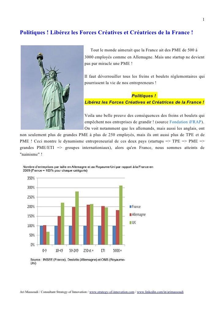 Politiques ! Libérez les forces créatives et créatrices de la France
