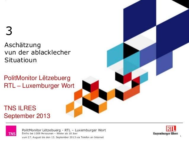 Polit monitor lëtzebuerg   rtl  luxemburger wort september 2013 volet 3 aschätzung ablacklecher situatioun - à diffuser à pa
