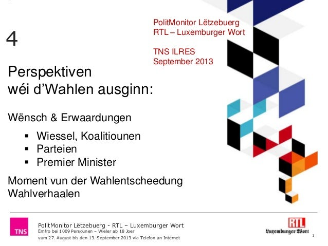 PolitMonitor Lëtzebuerg - RTL – Luxemburger Wort Ëmfro bei 1009 Persounen – Wieler ab 18 Joer vum 27. August bis den 13. S...
