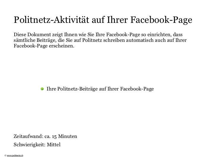 Politnetz-Aktivität auf Ihrer Facebook-Page         Diese Dokument zeigt Ihnen wie Sie Ihre Facebook-Page so einrichten, d...