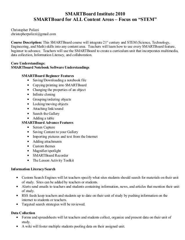 "SMARTBoard Institute 2010 SMARTBoard for ALL Content Areas – Focus on ""STEM"" Christopher Polizzi christopherpolizzi@gmail...."