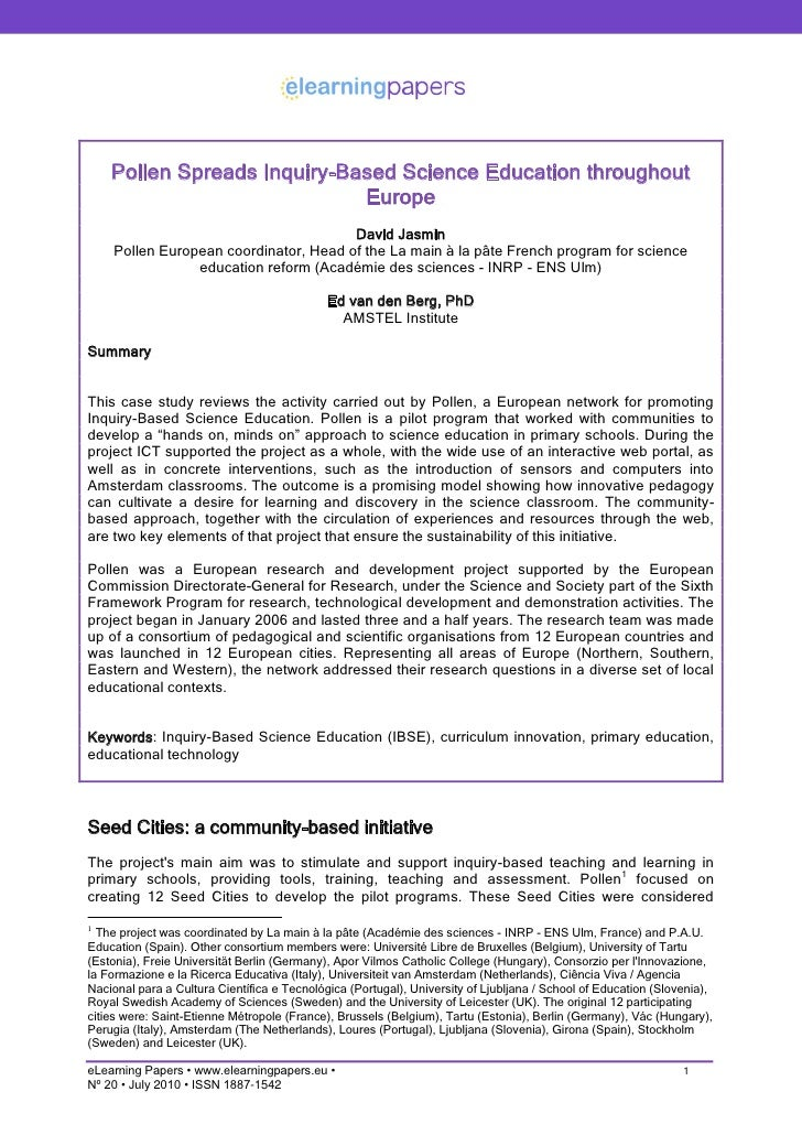 Pollen Spreads Inquiry-Based Science Education throughout                              Europe                             ...