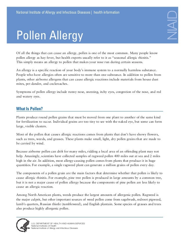 NIAID National Institute of Allergy and Infectious Diseases | health information Pollen Allergy U.S. DEPARTMENT OF HEALTH ...