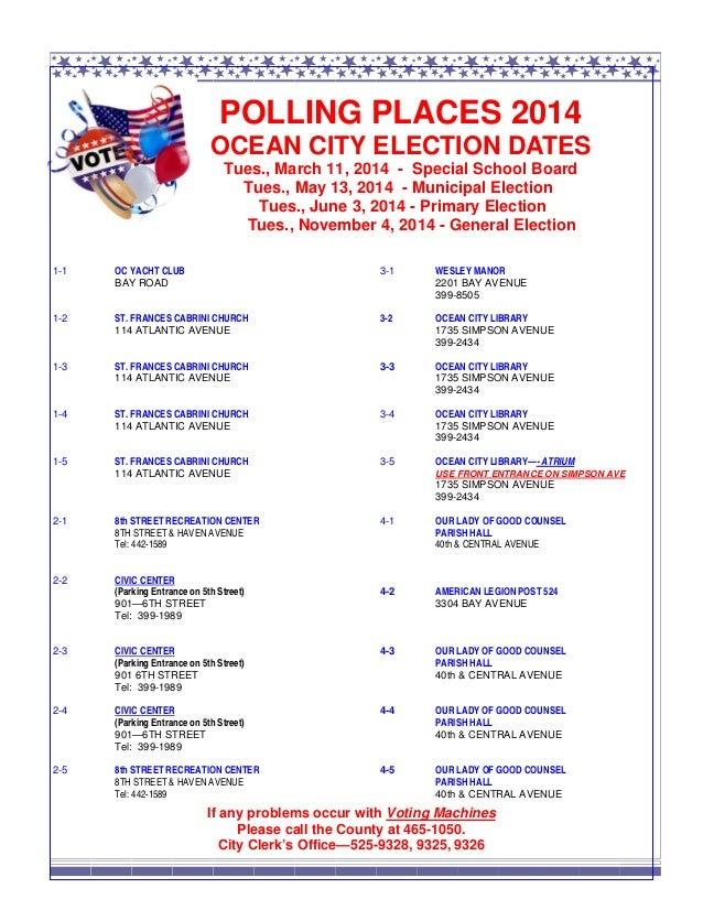 Ocean City NJ polling places 2014