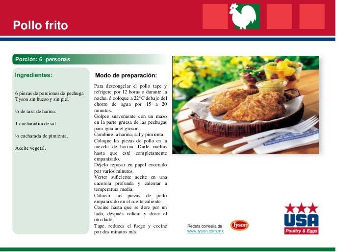 Pollo fritoPorción: 6 personas                                   Para descongelar el pollo tape y6 piezas de porciones de ...