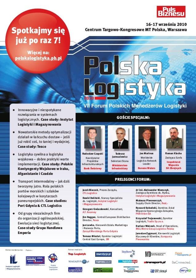 7th Polish Logistics Forum PolLog 2010 Programme