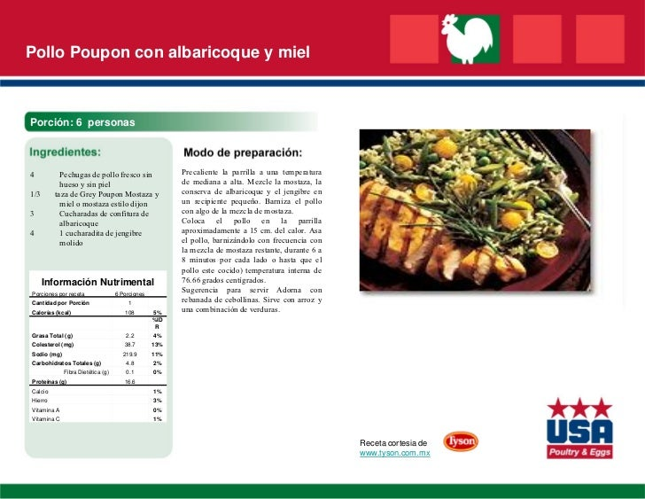 Pollo Poupon con albaricoque y mielPorción: 6 personas4          Pechugas de pollo fresco sin                Precaliente l...