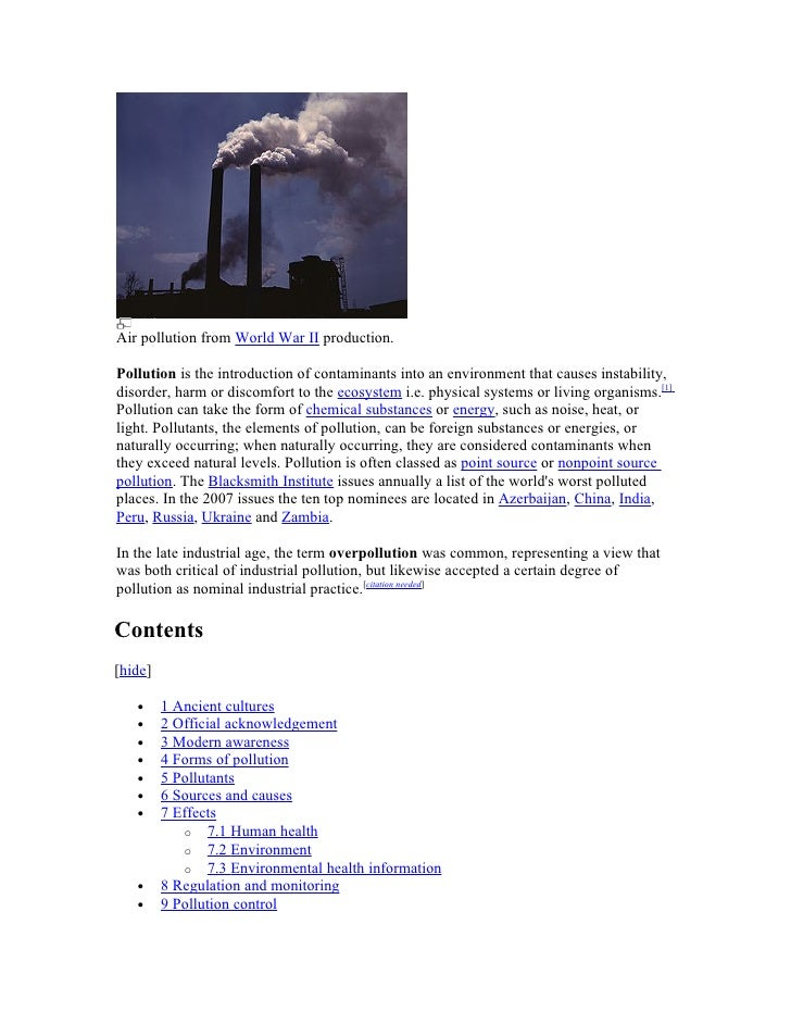 Air pollution from World War II production.  Pollution is the introduction of contaminants into an environment that causes...