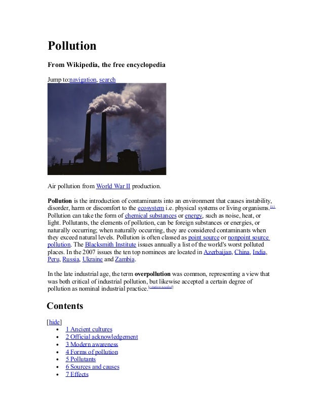 Pollution From Wikipedia, the free encyclopedia Jump to:navigation, search Air pollution from World War II production. Pol...