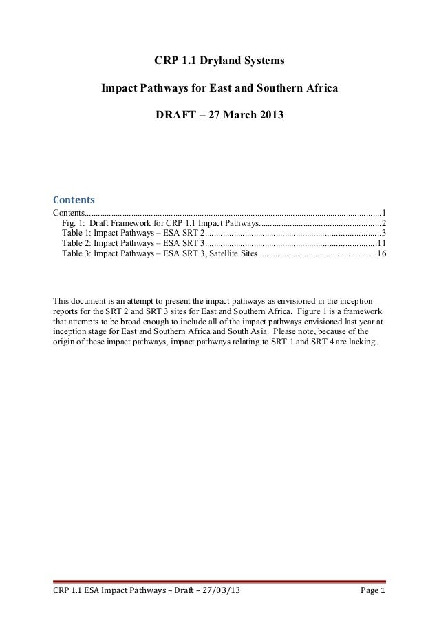 CRP 1.1 Dryland SystemsImpact Pathways for East and Southern AfricaDRAFT – 27 March 2013ContentsContents.....................