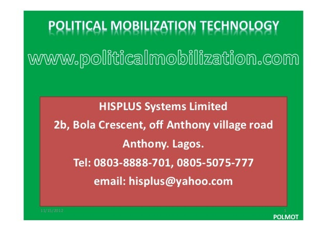 HISPLUS Systems Limited     2b, Bola Crescent, off Anthony village road                      Anthony. Lagos.             T...