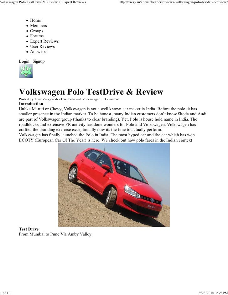 Volkswagen Polo TestDrive & Review at Expert Reviews                       http://vicky.in/connect/expertreviews/volkswage...