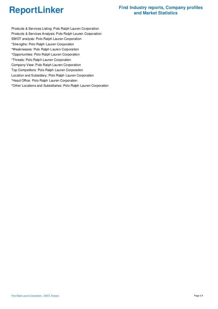 financial analysis for ralph lauren corporation Ralph lauren corporation : retailing - company profile, swot & financial analysis report.