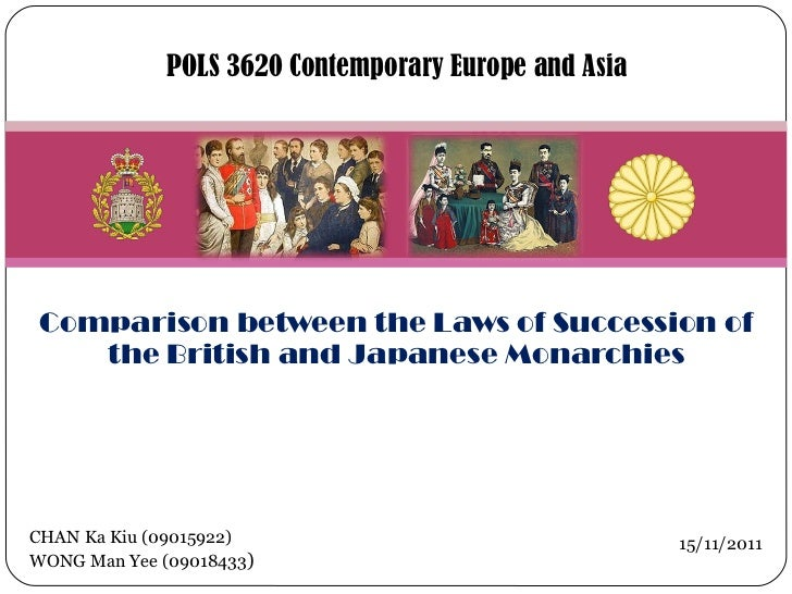 Comparison between the Laws of Succession of the British and Japanese Monarchies POLS 3620 Contemporary Europe and Asia CH...