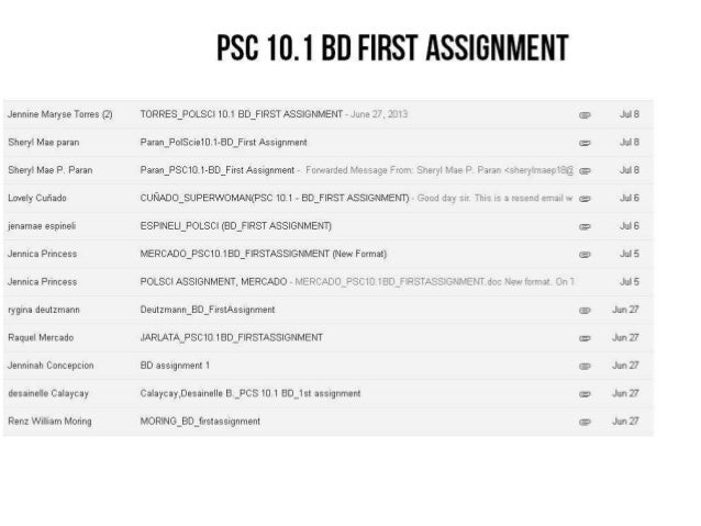 POL SCI 10: LIST OF STUDENTS WHO SUBMITTED THEIR FIRST ASSIGNMENT