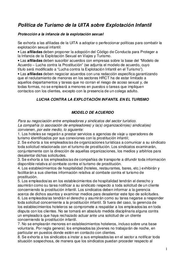 1Política de Turismo de la UITA sobre Explotación InfantilProtección a la infancia de la explotación sexualSe exhorta a la...