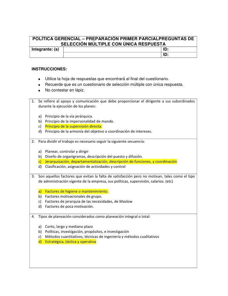 POLÍTICA GERENCIAL – PREPARACIÓN PRIMER PARCIAL PREGUNTAS DE SELECCIÓN MÚLTIPLE CON ÚNICA RESPUESTAIntegrante: (s)ID:ID:<b...