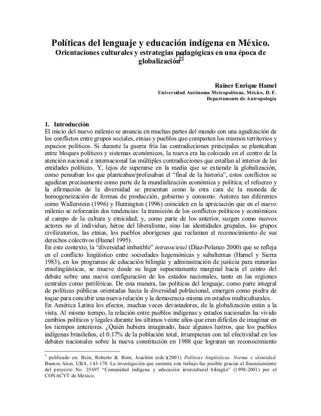Políticas del lenguaje y educación indígena en méxico