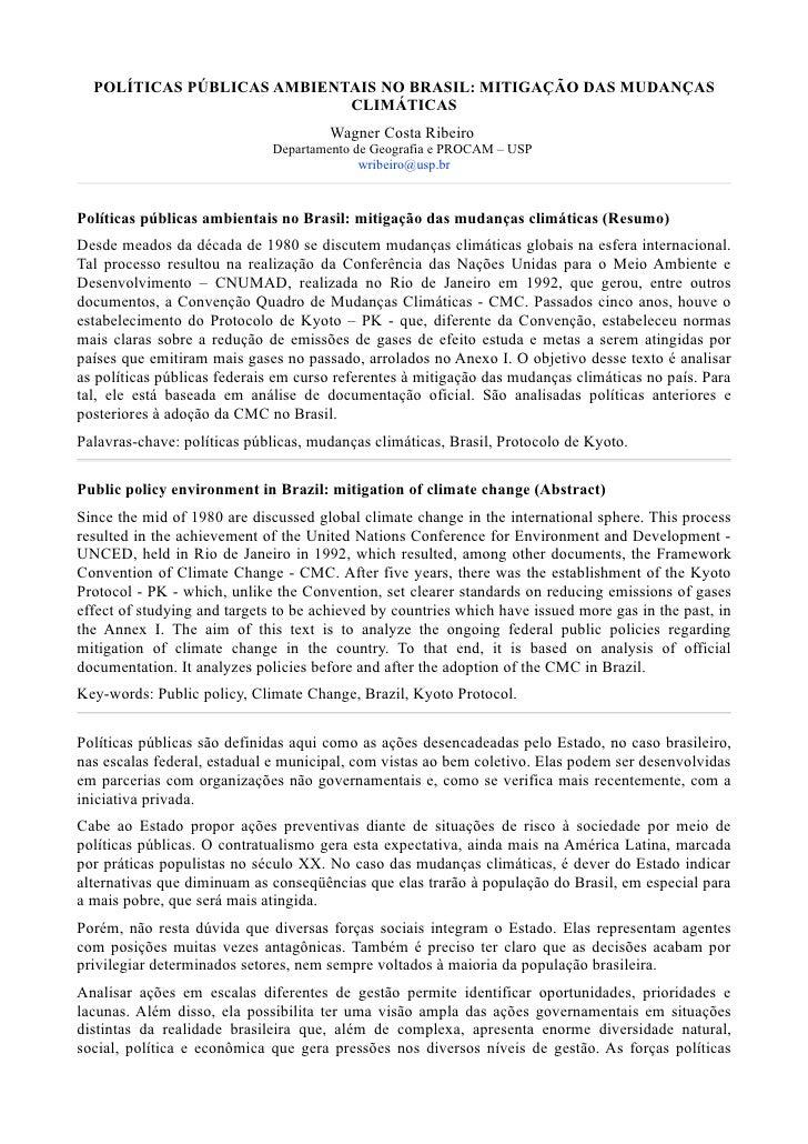 POLÍTICAS PÚBLICAS AMBIENTAIS NO BRASIL: MITIGAÇÃO DAS MUDANÇAS                            CLIMÁTICAS                     ...