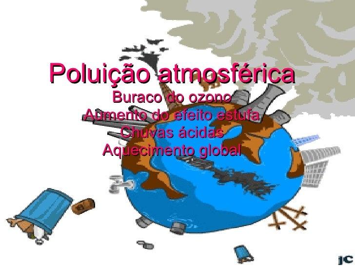 Poluição atmosférica Buraco do ozono Aumento do efeito estufa Chuvas ácidas Aquecimento global