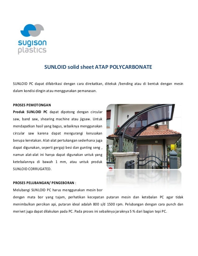 Polycarbonate canopy sunloid solid sheet