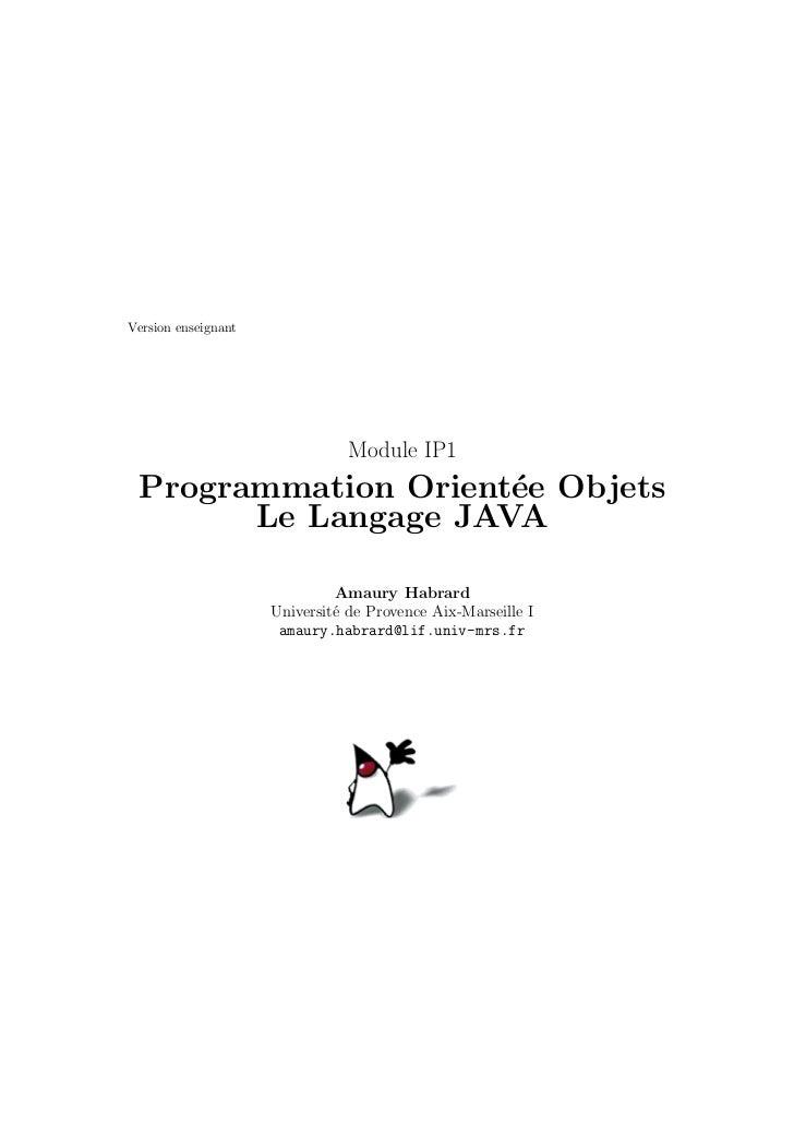 Version enseignant                                Module IP1 Programmation Orient´e Objets                     e       Le ...