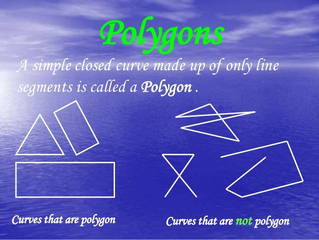Polygons A simple closed curve made up of only line segments is called a Polygon .  Curves that are polygon  Curves that a...