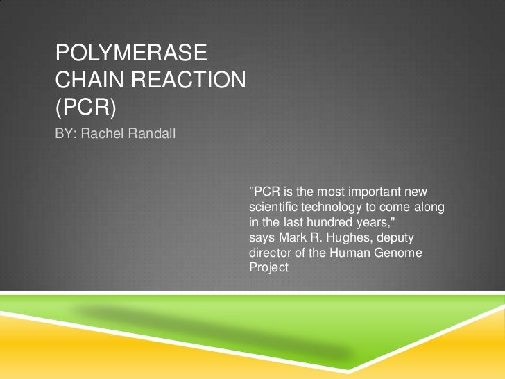 """POLYMERASECHAIN REACTION(PCR)BY: Rachel Randall                     """"PCR is the most important new                     sci..."""