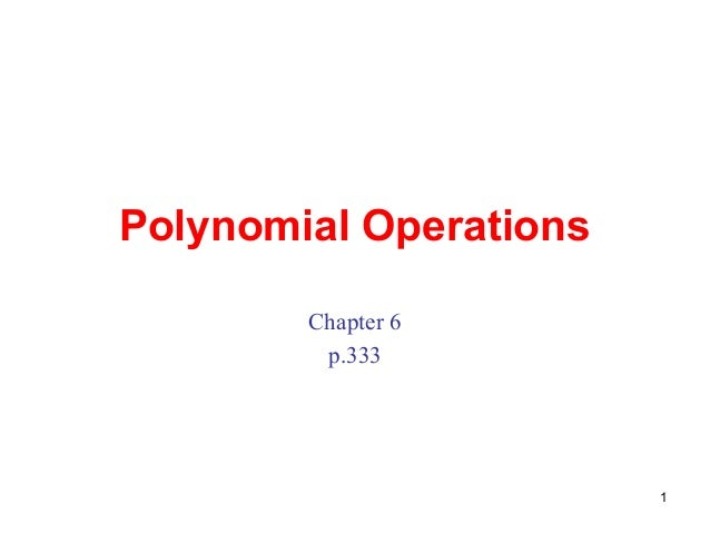 Polynomial operations (1)
