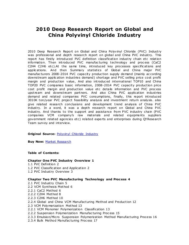 2010 Deep Research Report on Global and China Polyvinyl Chloride Industry 2010 Deep Research Report on Global and China Po...