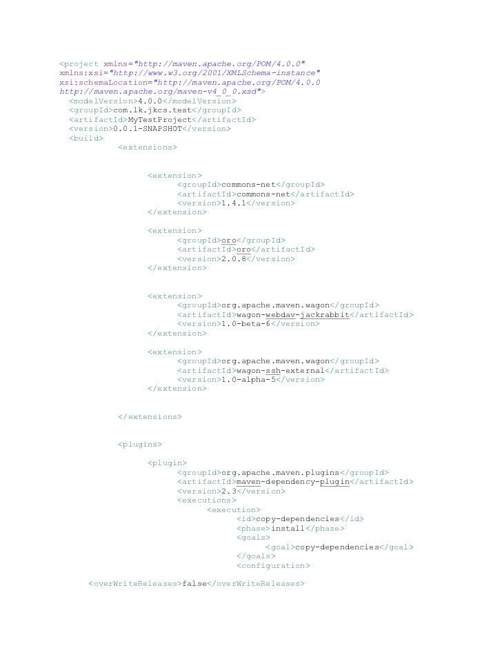"""<project xmlns=""""http://maven.apache.org/POM/4.0.0""""xmlns:xsi=""""http://www.w3.org/2001/XMLSchema-instance""""xsi:schemaLocation=..."""