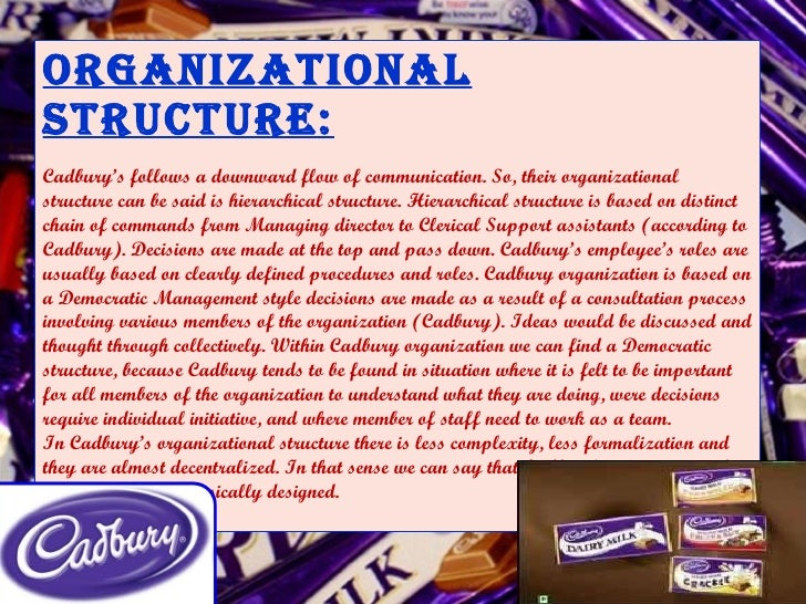 organisation structure of cadbury company in india Evolution of corporate governance framework in india:  (like cadbury greenbury and hampel committee  the company has achieved 100% of promoter's and.