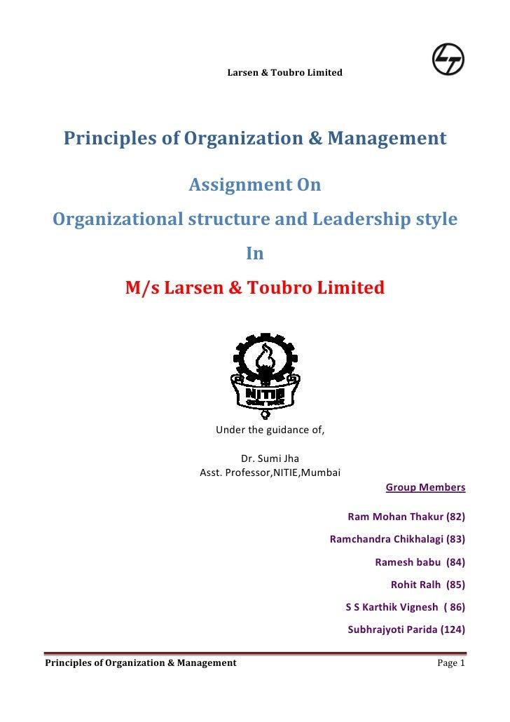 Organizational Structure & Leadership Style in M/s Larsen & Toubro , Mumbai.