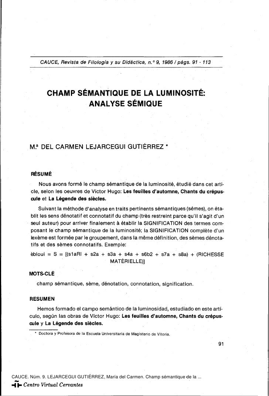 """CAUCE, Revista de Filología y su Didáctica, n."""" 9, 19861págs. 91 - 113                CHAMP SÉMANTIQUE DE LA LUMINOSITÉ:  ..."""