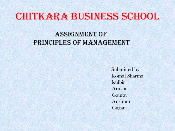 Chitkara business school        assignment of  principles of management                     Submitted by:                 ...