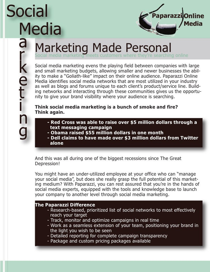 Social  Media  a Marketing Made Personal  r  Social media marketing meets customers where they're searching online    k  S...
