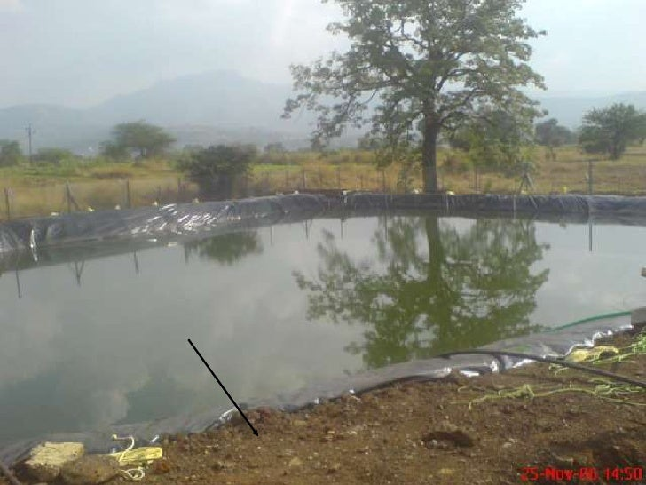 Lining A Pond Water Reservoir With Plastic Liner