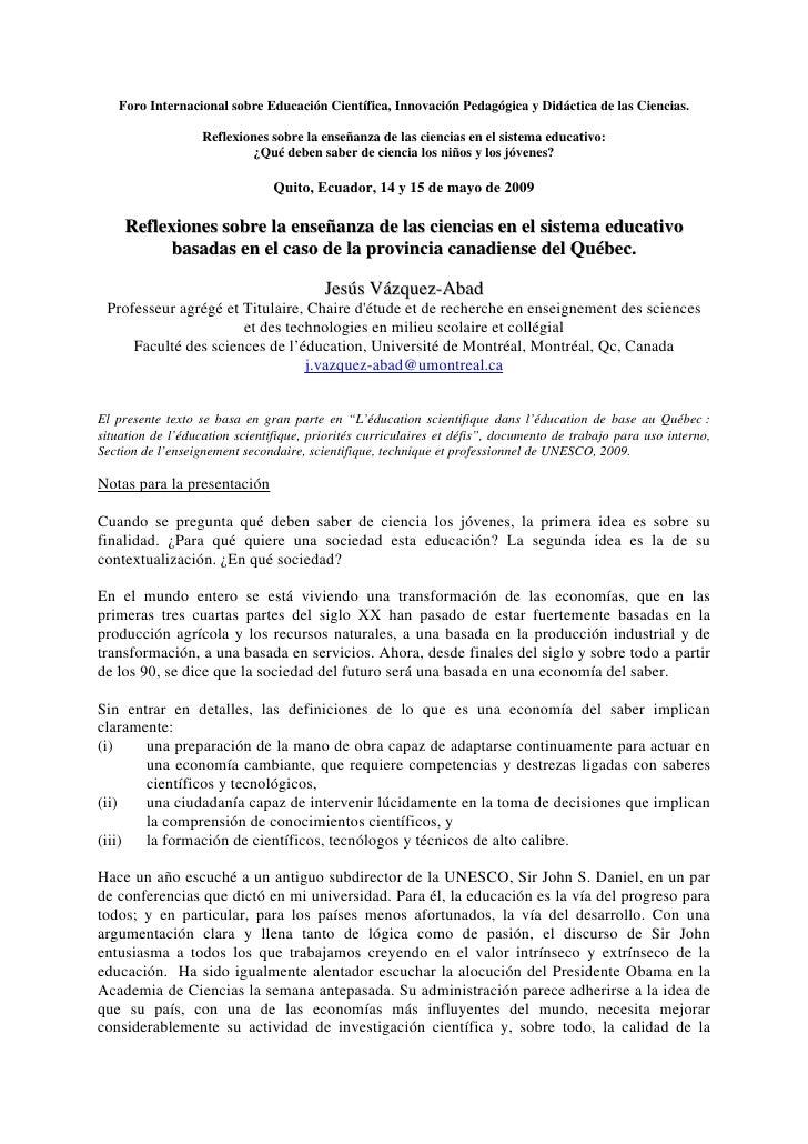 Foro Internacional sobre Educación Científica, Innovación Pedagógica y Didáctica de las Ciencias.                     Refl...