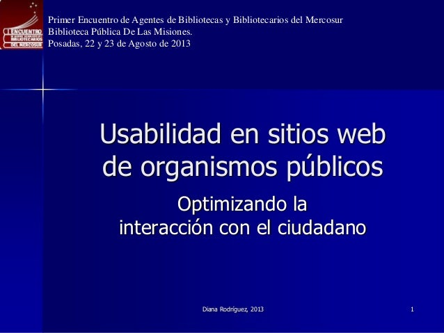Usabilidad en sitios web  de organismos públicos Optimizando la interacción con el ciudadano