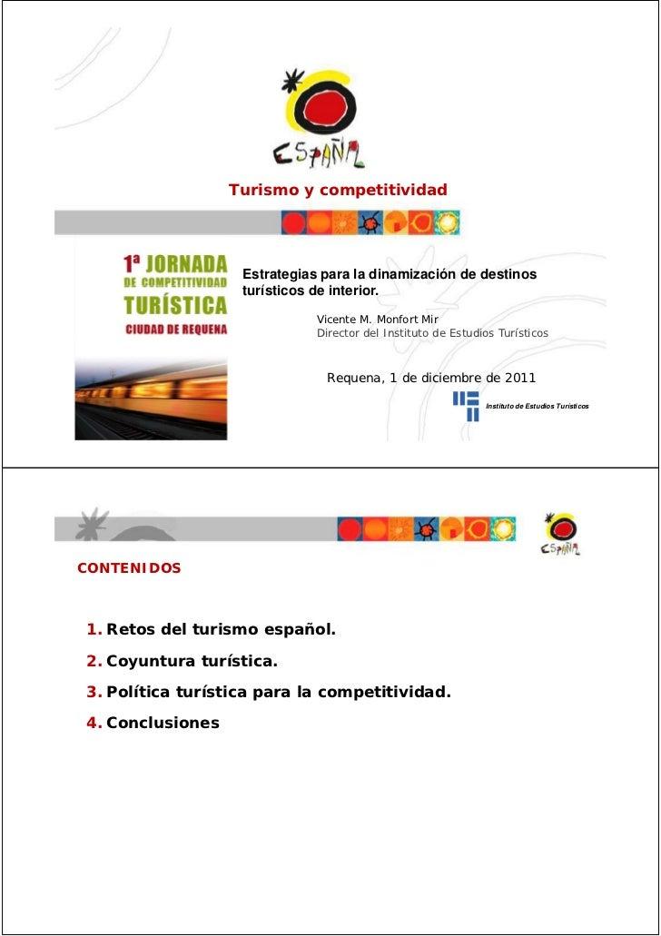 Turismo y competitividad                   Estrategias para la dinamización de destinos                   turísticos de in...