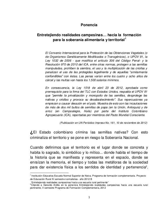 Ponencia      Entretejiendo realidades campesinas… hacia la formación                para la soberanía alimentaria y terri...