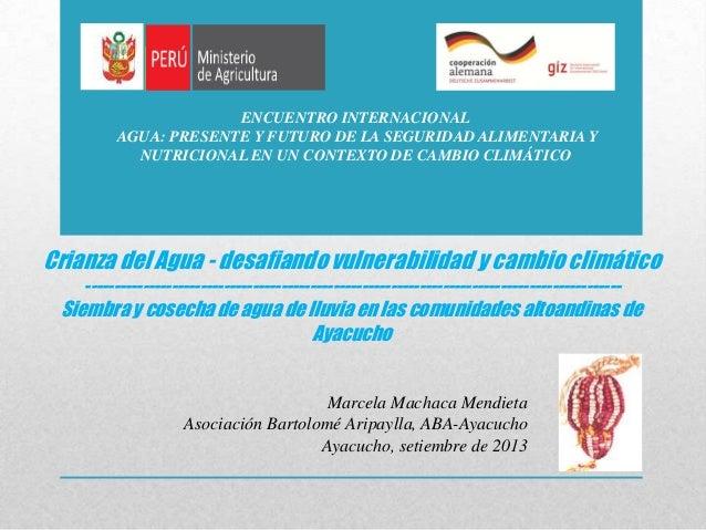 Crianza del Agua, desafiando vulnerabilidad y cambio climático. Siembra y cosecha de agua de lluvia en las comunidades altoandinas de Ayacucho