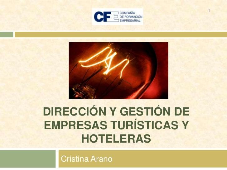 DIRECCIÓN Y GESTIÓN DE EMPRESAS TURÍSTICAS Y HOTELERAS<br />Cristina Arano<br />1<br />