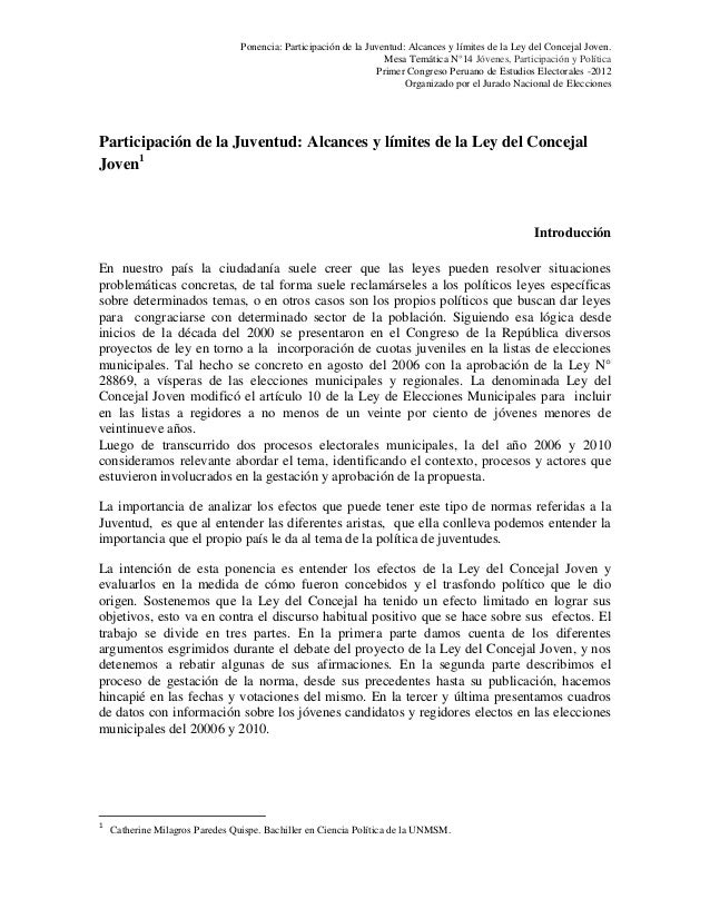Ponencia: Participación de la Juventud: Alcances y límites de la Ley del Concejal Joven.                                  ...