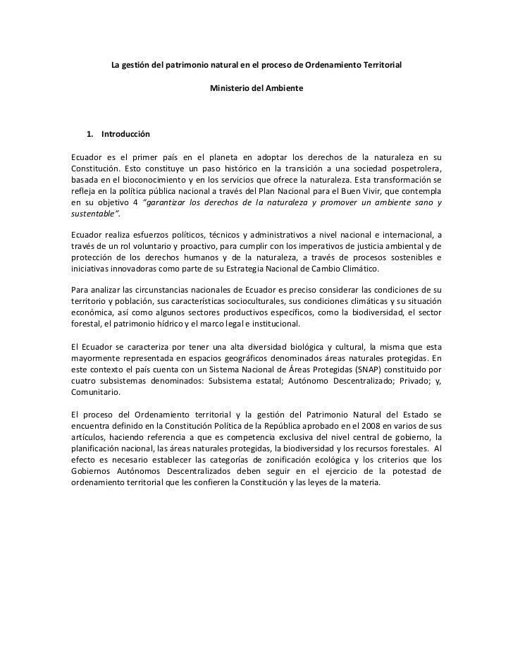 La gestión del patrimonio natural en el proceso de Ordenamiento Territorial                                      Ministeri...