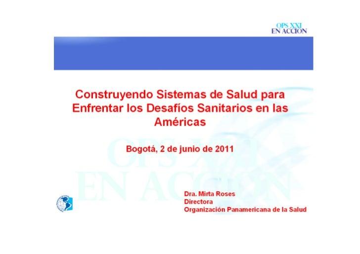 Construyendo Sistemas de Salud para enfrentar los desafíos sanitarios en las Américas
