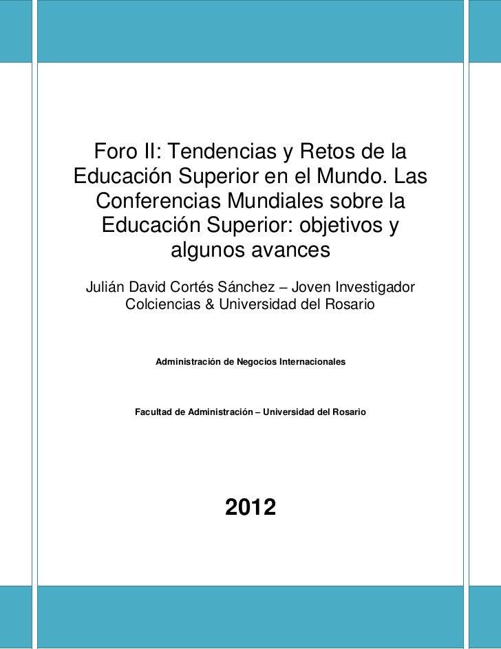 declaracion mundial sobre la educacion superior: