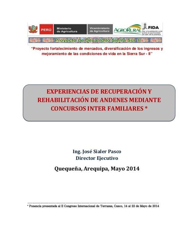 """""""Proyecto fortalecimiento de mercados, diversificación de los ingresos y mejoramiento de las condiciones de vida en la Sie..."""